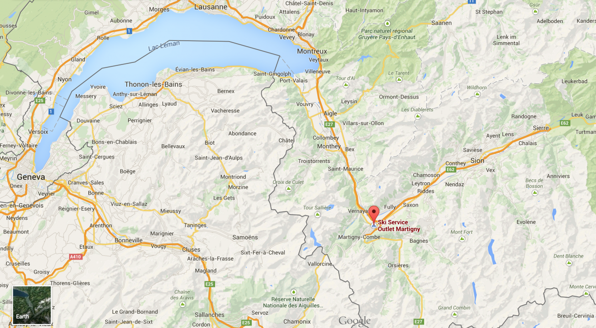 Map showing the location of Ski Service Outlet in Martigny, Switzerland