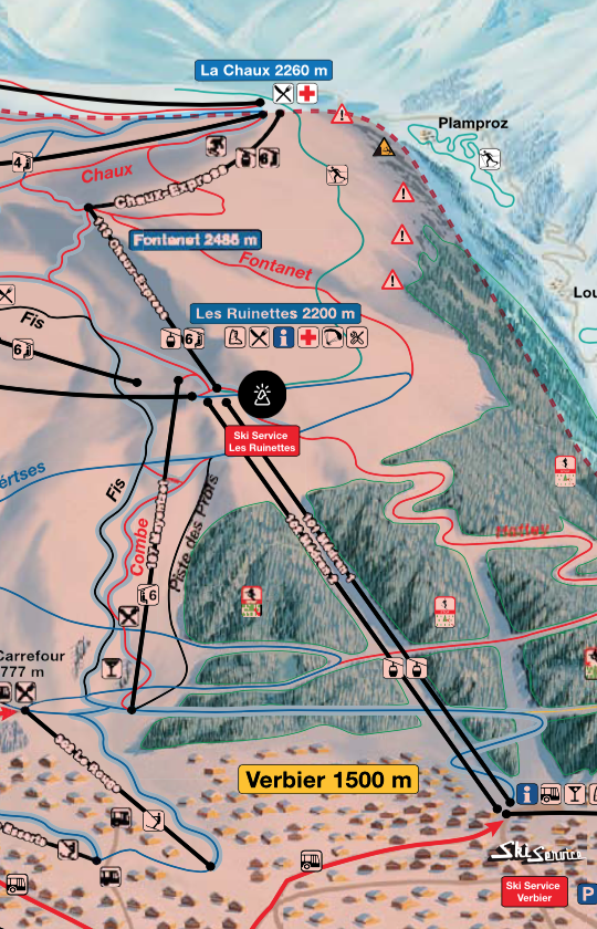 Map showing the location of Ski Service Les Ruinettes in relation to Verbier and the surrounding ski area
