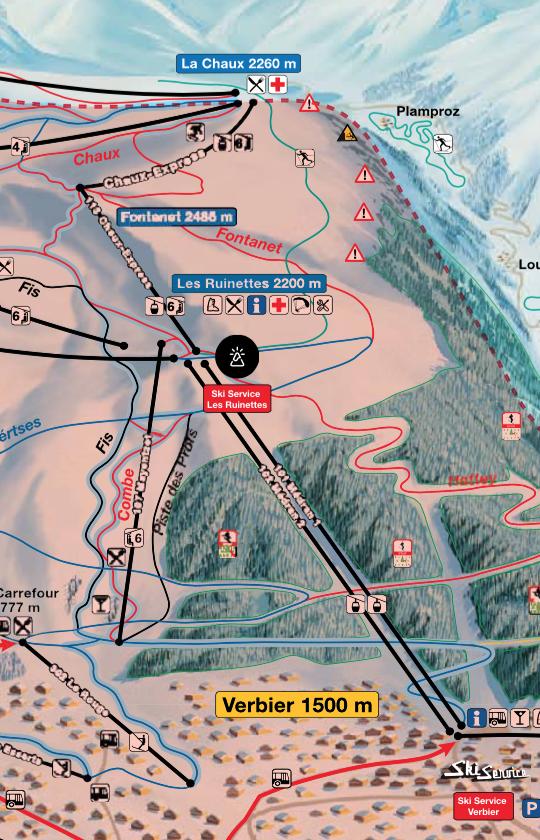 Ski Service Verbier & Ski Service Les Ruinettes ski map