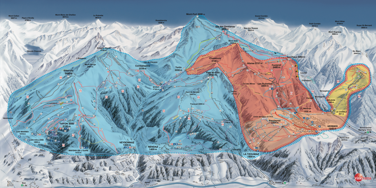 Verbier and Les 4 Vallées ski area map