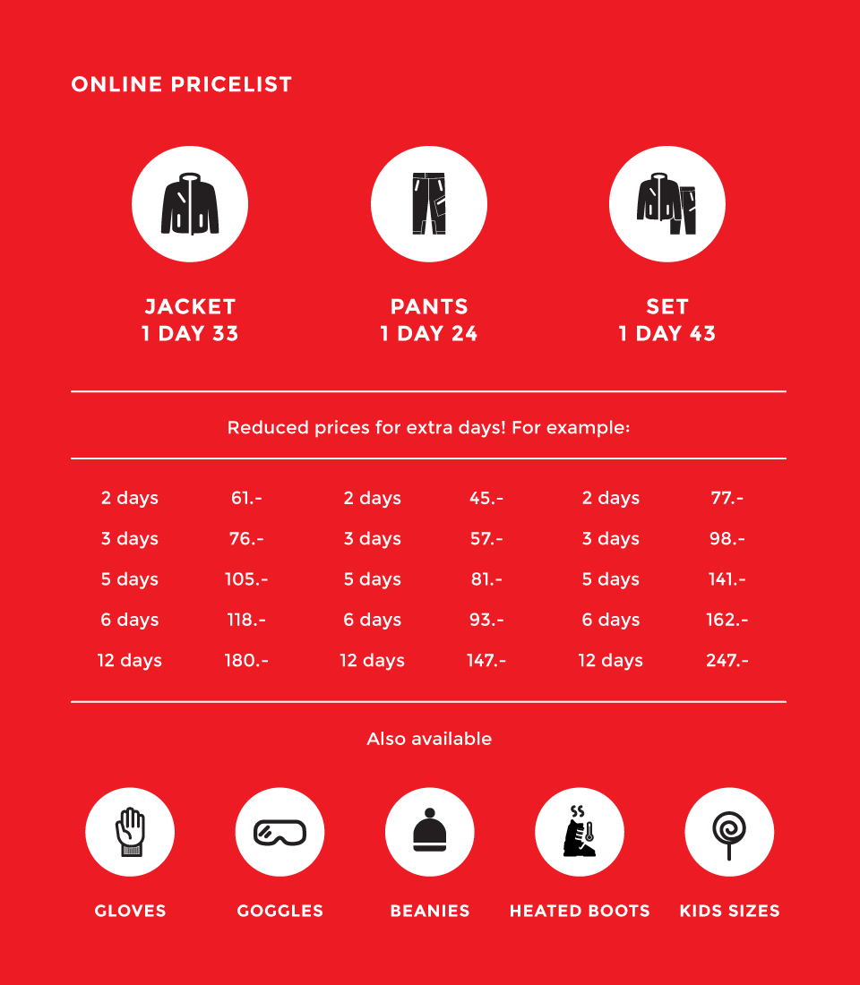 Rent ski clothing in Verbier - price list